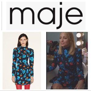 Maje Ripita Ruched Floral-Print Mini Dress
